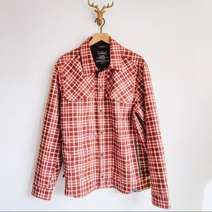 LL Bean Outerwear Plaid Coat Orange Sz XL
